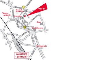 Lageplan ver.di Geschäftsstelle Augsburg