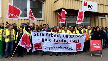 Warnstreik am 20.12.2016 bei Engelhardt Etikett, Nördlingen