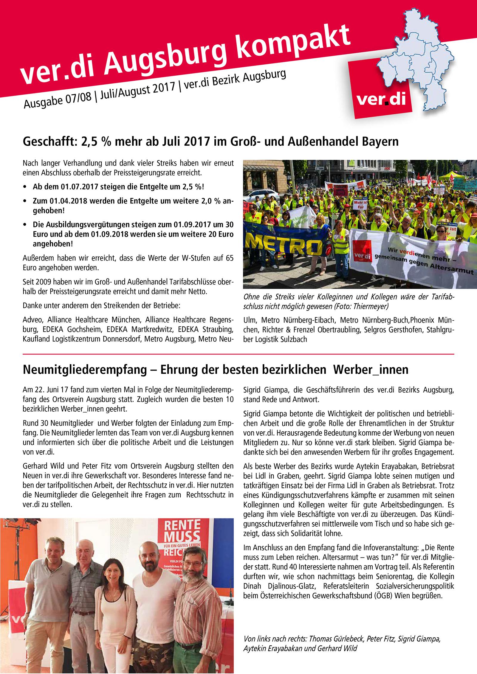 ver.di Augsburg kompakt Ausgabe 07/08 2017