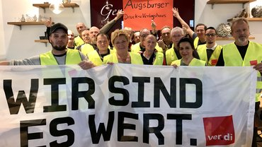 30.10.2018, Warnstreik im Augsburger Druck- und Verlagshaus