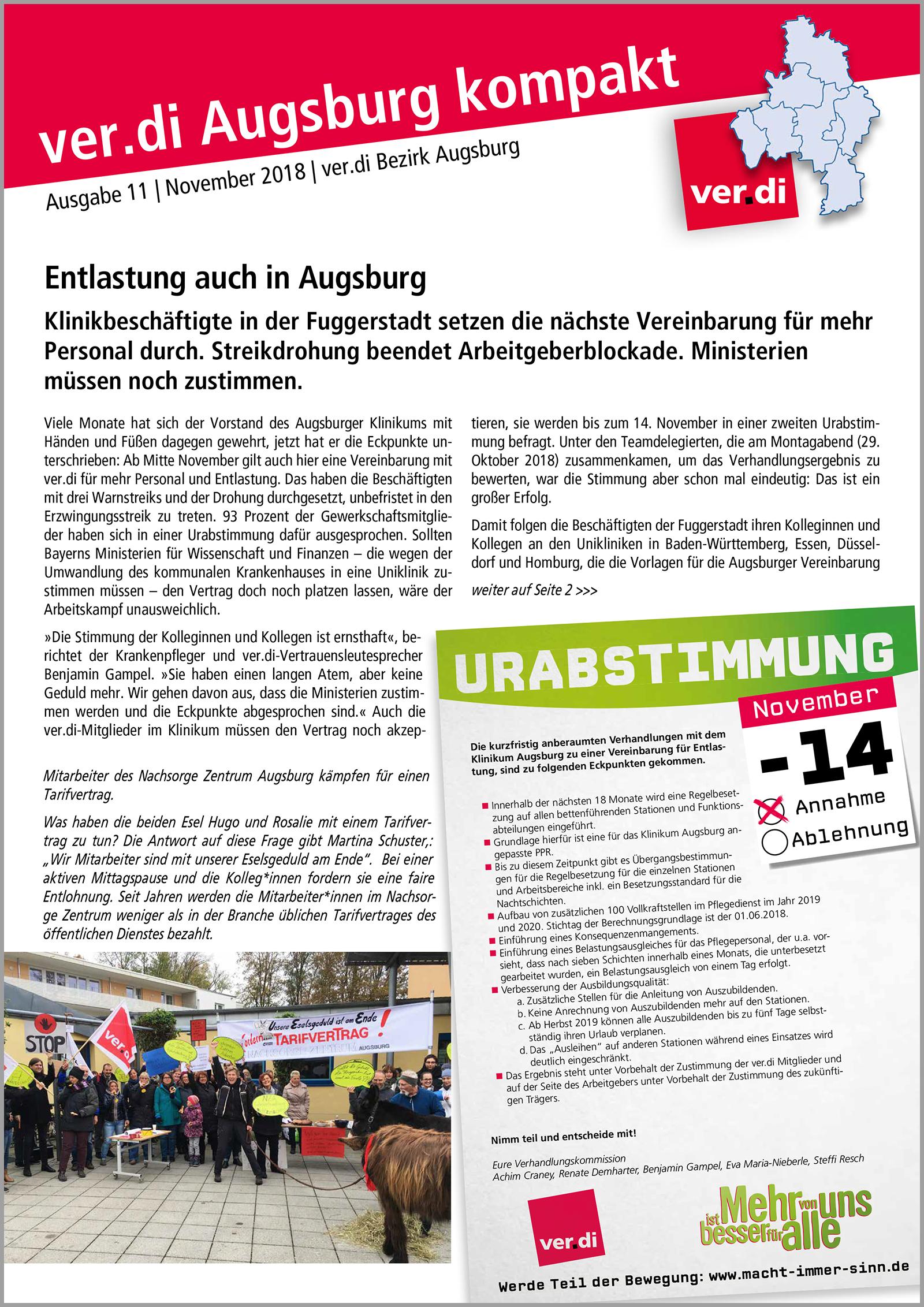 ver.di Augsburg kompakt Ausgabe 11 2018